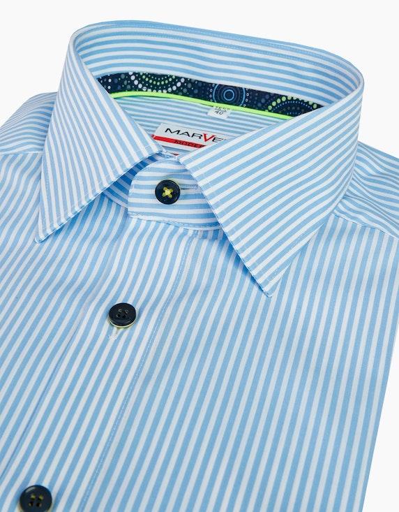 Marvelis gestreiftes Dresshemd mit neon-farbenen Details, MODERN FIT | [ADLER Mode]