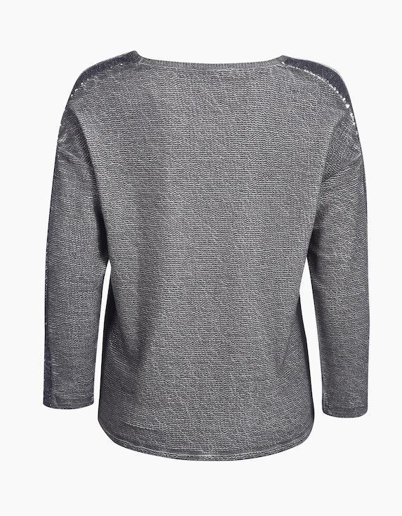 MY OWN Struktur-Sweatshirt mit Glitzerdruck aus reiner Viskose   [ADLER Mode]