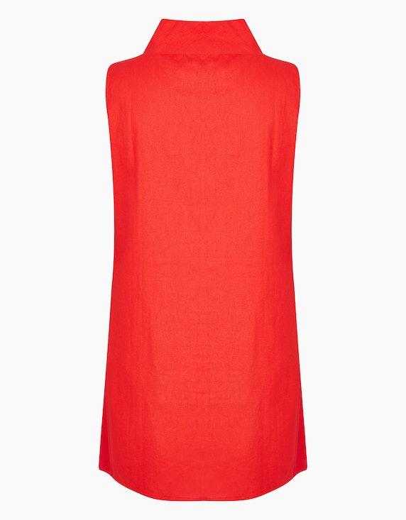 Thea Kleid mit Stickerei und weitem Stehkragen, mit Leinenanteil | [ADLER Mode]