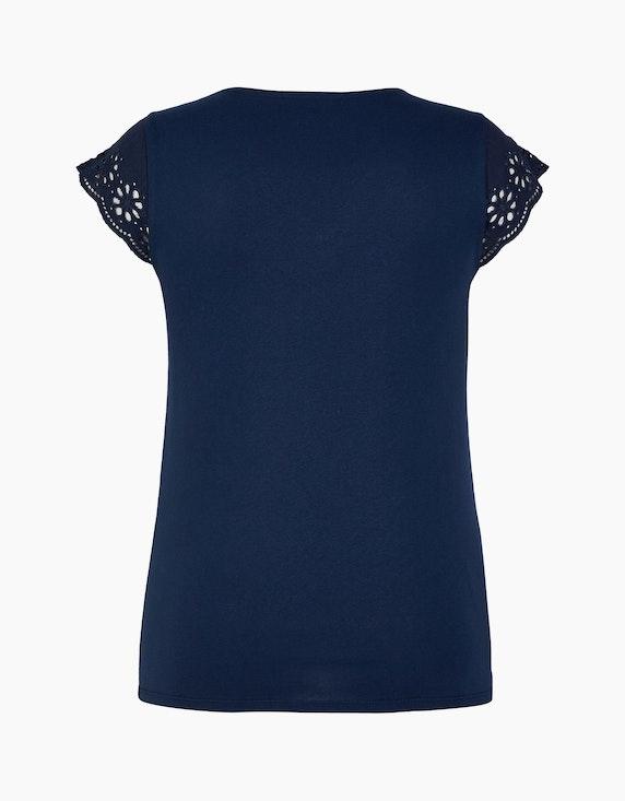 Bexleys woman Einfarbiges Kurzarmshirt mit Lochstickerei   [ADLER Mode]
