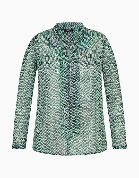 Bexleys woman Bluse mit Schluppe und Allover-Print in Grün/Marine/Weiß | [ADLER Mode]