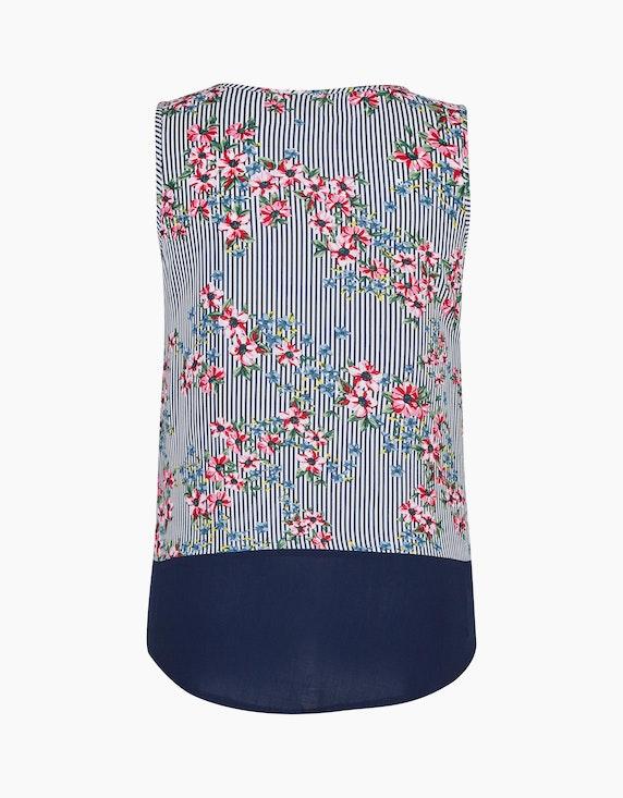 Bexleys woman Blusentop mit Streifen, Blumen und Kontrast-Saum | [ADLER Mode]