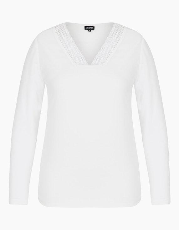 Viventy Shirtbluse mit V-Ausschnitt in Häkelspitze in Weiß   [ADLER Mode]