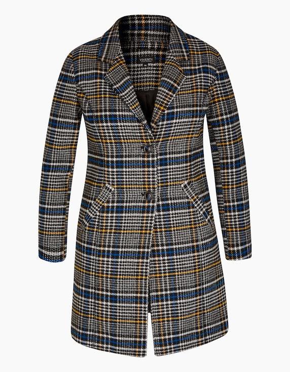 Viventy Karo-Mantel im Blazer-Style und Wolloptik in Schwarz/Weiß/Blau/Senfgelb   [ADLER Mode]