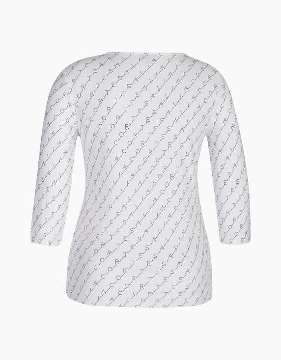 Via Cortesa Basic-Shirt mit allover Buchstabendruck | [ADLER Mode]