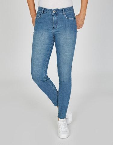 Hosen - 5 Pocket Jeans im Karo Dessin, 38  - Onlineshop Adler