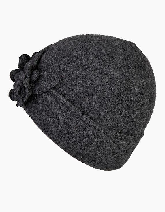 Bexleys woman Unifarbene Wollmütze mit zwei großen Zierblumen | [ADLER Mode]