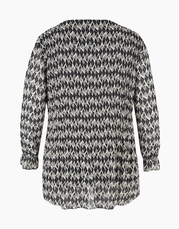 Thea Chiffon-Bluse mit Allover-Muster und Plissee | [ADLER Mode]