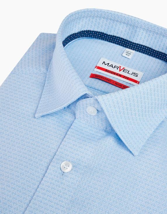 Marvelis Unifarbenes Dresshemd mit Struktur, MODERN FIT | [ADLER Mode]