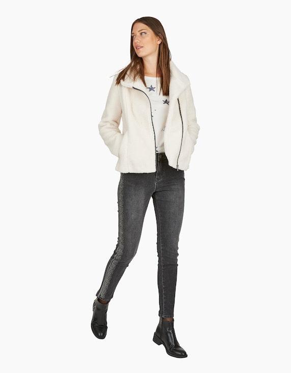 MY OWN Denim-Jeanshose mit Silber-Galonstreifen und Ziersteinen | [ADLER Mode]