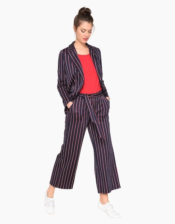 Via Cortesa Jersey-Streifen-Hose mit geradem, weitem Bein und Stoffgürtel | [ADLER Mode]
