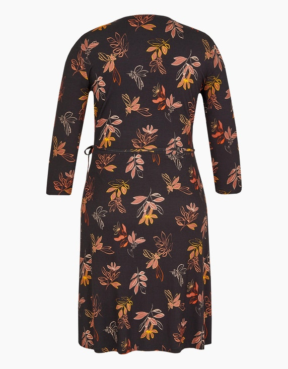 Birgit Schrowange Kollektion Jersey-Wickelkleid mit Blätterdruck | [ADLER Mode]