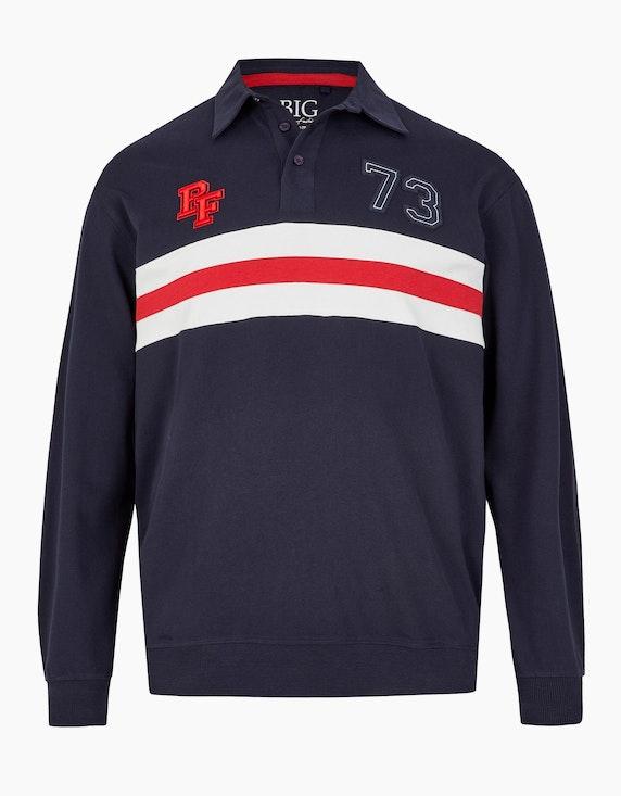 Big Fashion Langarm Poloshirt mit Streifen, aus reiner Baumwolle in Blau/Rot/Weiß | [ADLER Mode]