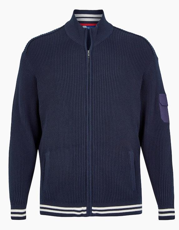 Big Fashion gerippte Strickjacke mit Details in Marine | [ADLER Mode]