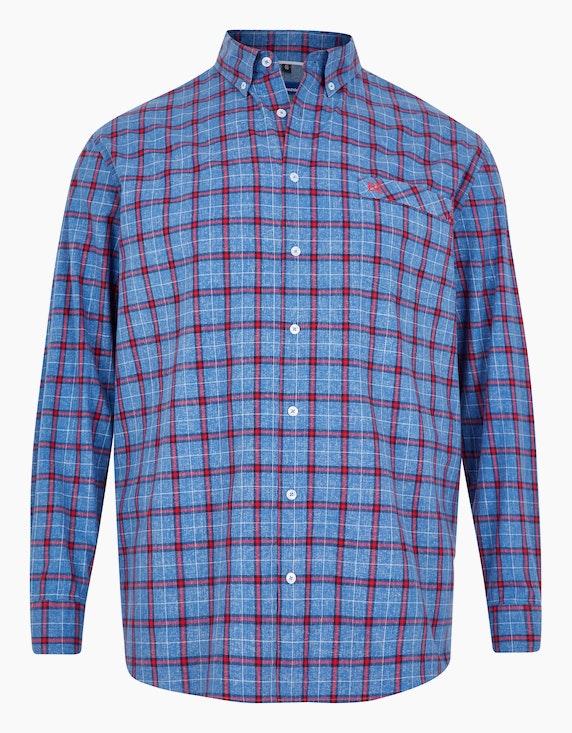 Big Fashion modisches Karohemd in weicher Baumwolle in Blau/Rot | [ADLER Mode]