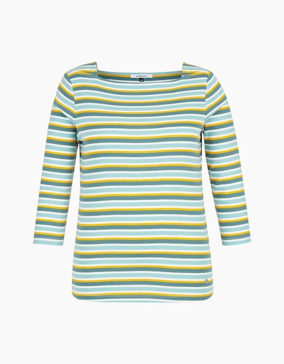 Steilmann Woman Streifen-Shirt mit Karree-Ausschnitt in Petrol/Aqua/Gelb/Weiß | [ADLER Mode]