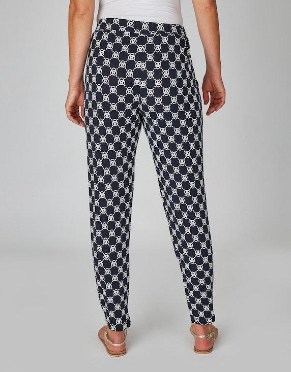 Marke Lieferant Jerseyhose mit Allover-Print und Bundfalten | [ADLER Mode]
