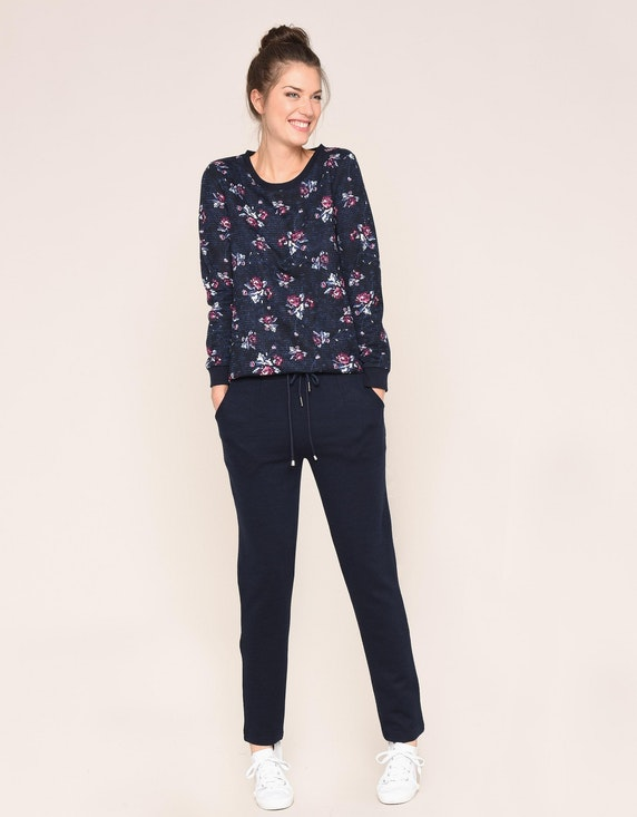 Via Cortesa Sweatshirt mit floralem Druck und Streifenstruktur   [ADLER Mode]