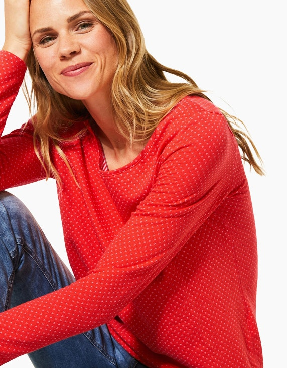 CECIL Feinstrick-Shirt mit Allover-Print, Doubleface-Optik | [ADLER Mode]