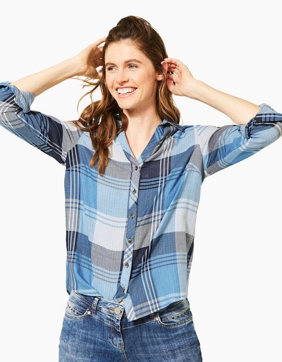 CECIL Karo-Bluse mit Hemdblusenkragen, reine Baumwolle | [ADLER Mode]