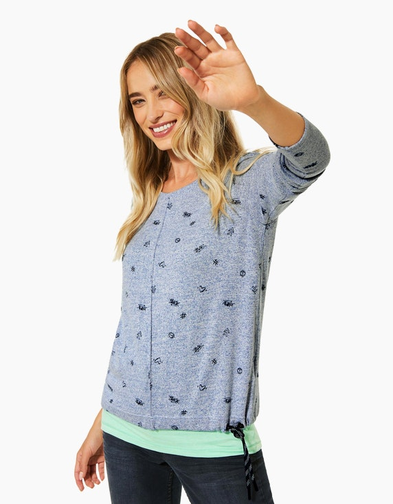 CECIL Shirt in Melange-Optik mit Minimal-Print | [ADLER Mode]