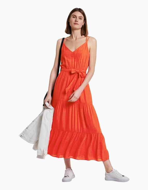 Tom Tailor Maxi-Träger-Kleid mit Volants und Struktur | [ADLER Mode]