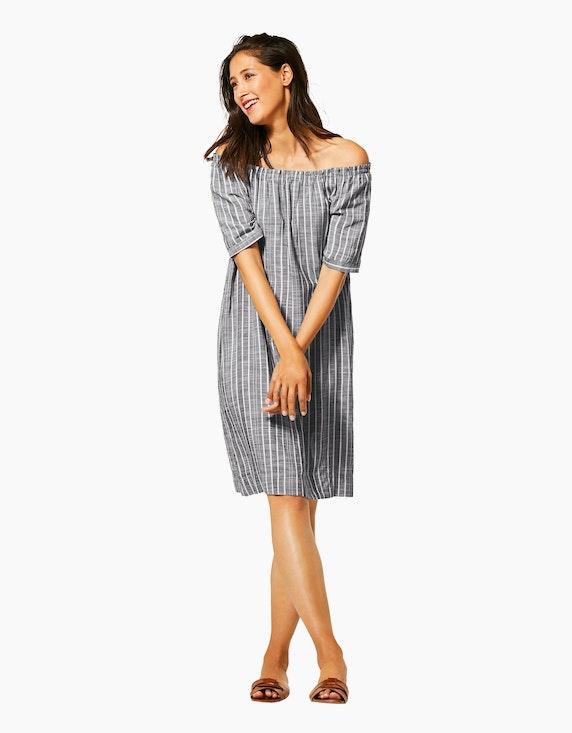 Street One gestreiftes Carmen-Kleid mit Leinen-Anteil | [ADLER Mode]