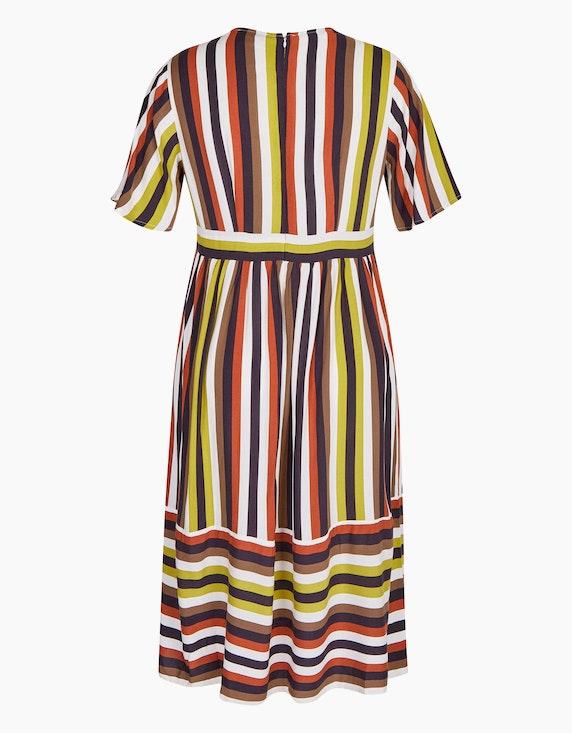Bexleys woman gestreiftes Viskose-Kleid mit tiefem V-Ausschnitt | [ADLER Mode]