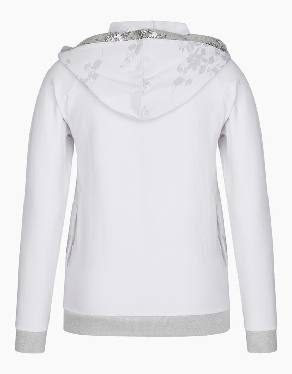 MY OWN Jersey-Jacke mit Kapuze, Pailletten und Silberdruck | [ADLER Mode]