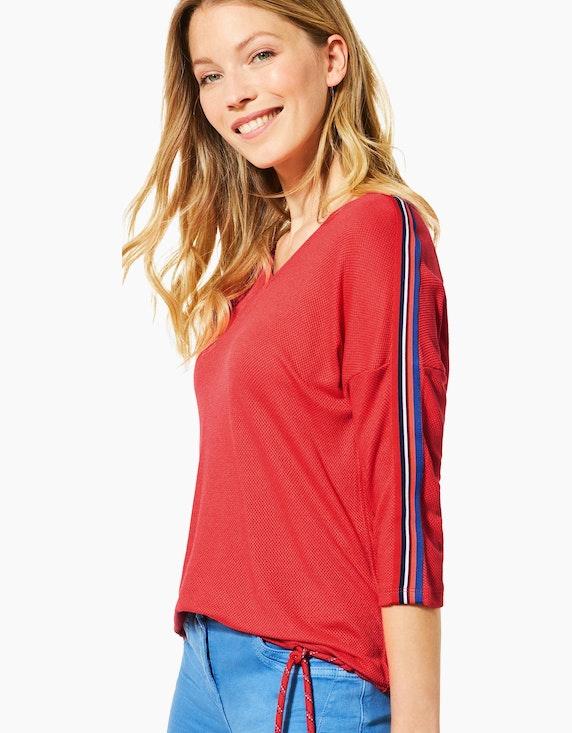 CECIL Struktur-Shirt mit farbigen College-Streifen | [ADLER Mode]