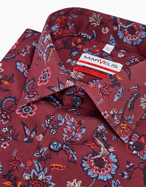 Marvelis Dresshemd in herbstlichem Blumendessin, MODERN FIT | ADLER Mode Onlineshop