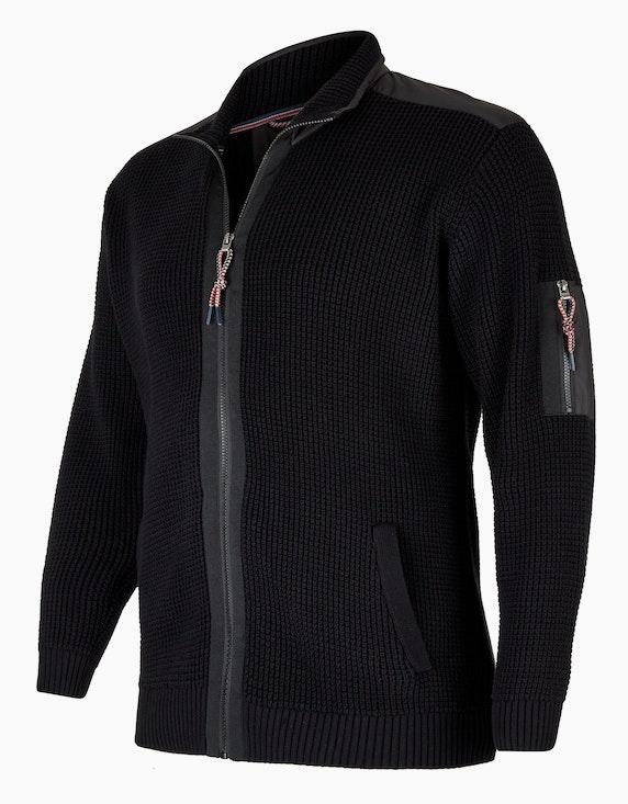 Big Fashion Outdoor Strickjacke mit Taft- und Ripsdetails   ADLER Mode Onlineshop