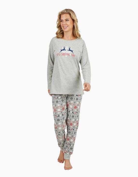 Bexleys woman Langer Pyjama mit weihnachtlichem Motiv | ADLER Mode Onlineshop