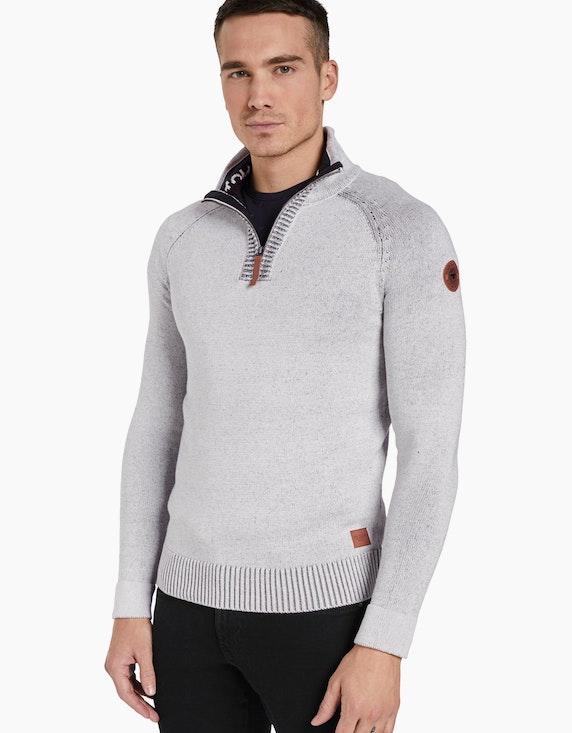Tom Tailor melierter Troyer-Pullover | ADLER Mode Onlineshop