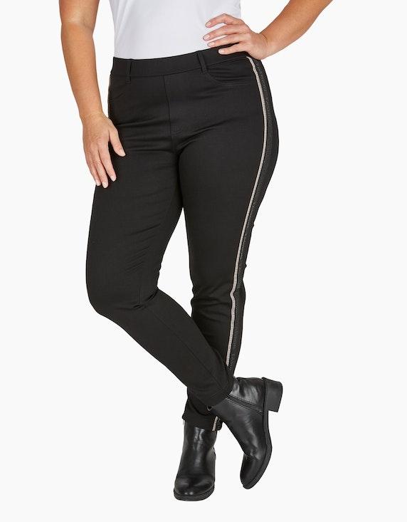 VIA APPIA DUE Jersey-Hose einfarbig mit Galon-Streifen   ADLER Mode Onlineshop