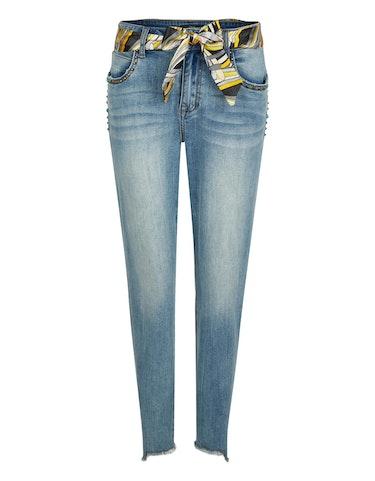 Hosen - Jeans mit Tuchgürtel und Nieten an den Taschen, 22  - Onlineshop Adler