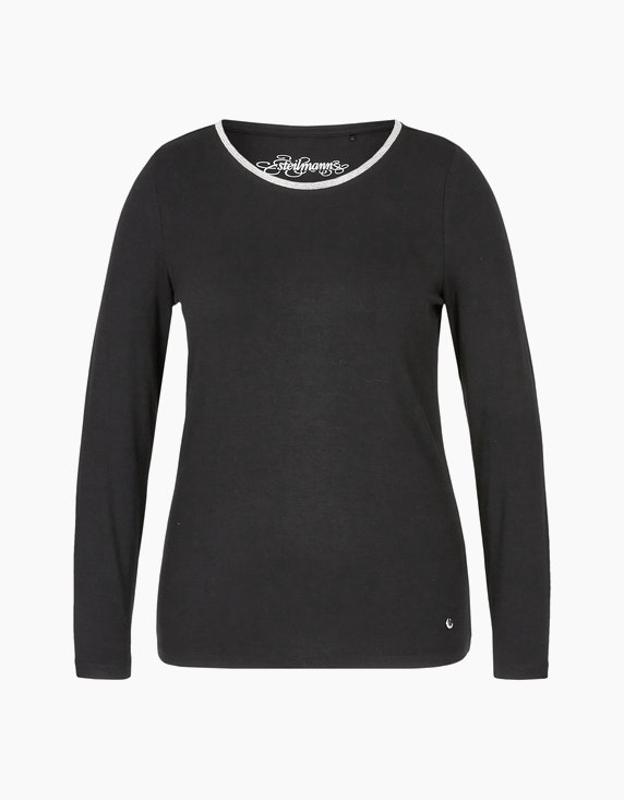 Steilmann Woman Shirt mit Rundhalsausschnitt und Kugelketten-Besatz in Schwarz | ADLER Mode Onlineshop
