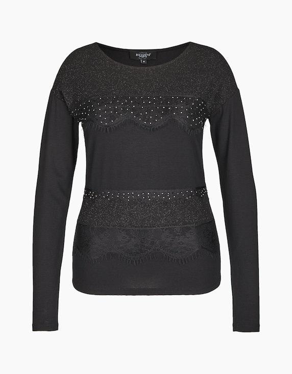 Bexleys woman Langarmshirt mit Materialmix und Spitzenbesatz in Schwarz   ADLER Mode Onlineshop