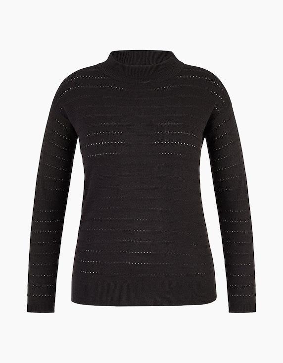 Bexleys woman Pullover mit Lochmuster-Streifen in Schwarz | ADLER Mode Onlineshop