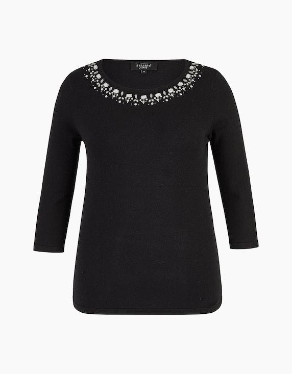Bexleys woman Pullover mit Strassbesatz am Ausschnitt in Schwarz | ADLER Mode Onlineshop