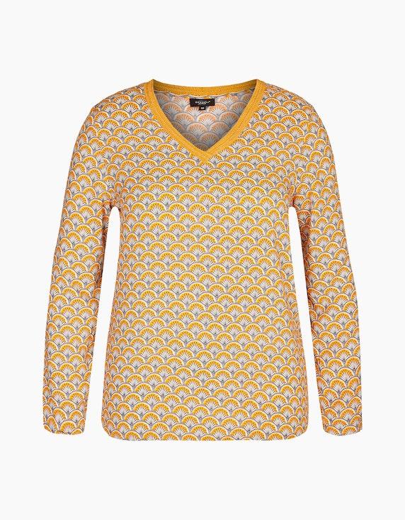 Bexleys woman Blusenshirt mit Krempelärmeln und Häkelspitze am Ausschnitt in Gelb/Weiß/Schwarz | ADLER Mode Onlineshop