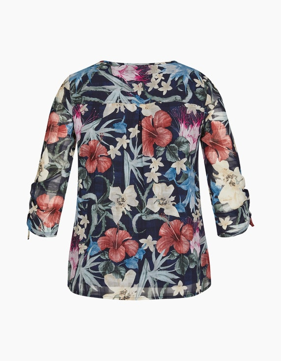 Bexleys woman Chiffonbluse mit Blumen und Karo | ADLER Mode Onlineshop