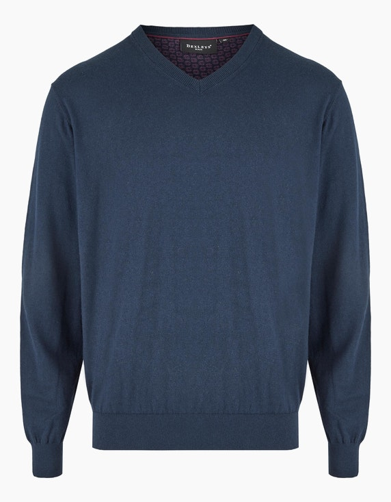 Bexleys man Klassischer Strickpullover in Marine | ADLER Mode Onlineshop