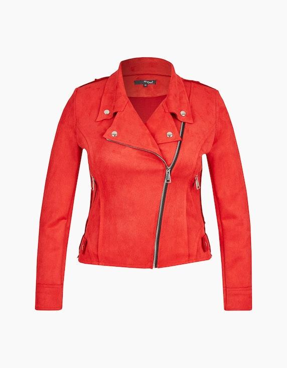 MY OWN Biker-Jacke in Velourlederimitat in Rot | ADLER Mode Onlineshop