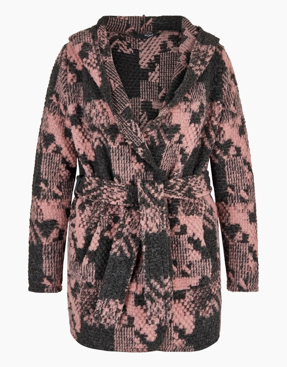 MY OWN Struktur-Jacquard-Strickjacke mit Kapuze in Grau/Rosa | ADLER Mode Onlineshop