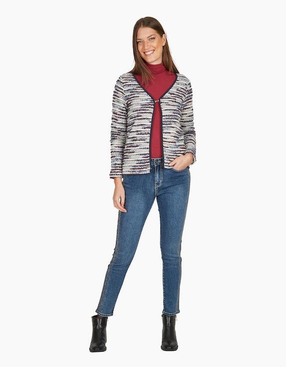 MY OWN Denim-Jeanshose mit Silber-Galonstreifen und Ziersteinen   ADLER Mode Onlineshop