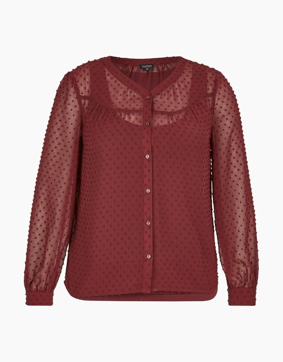 Viventy transparente Bluse mit Jaquard-Punkten allover in Bordeaux | ADLER Mode Onlineshop