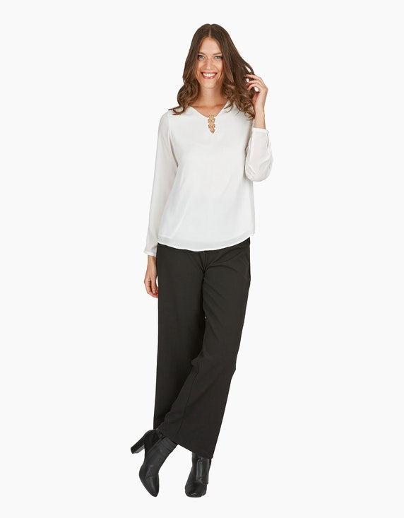 Viventy Shirtbluse, Double-Layer mit Gold-Accessoires in Offwhite | ADLER Mode Onlineshop