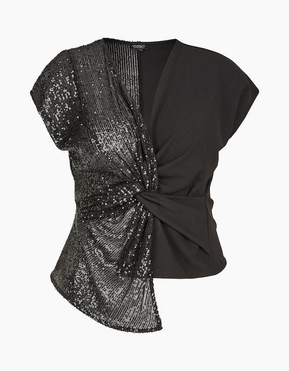 Viventy Festliches Shirt mit Pailletten und Knoten-Detail in Schwarz | ADLER Mode Onlineshop