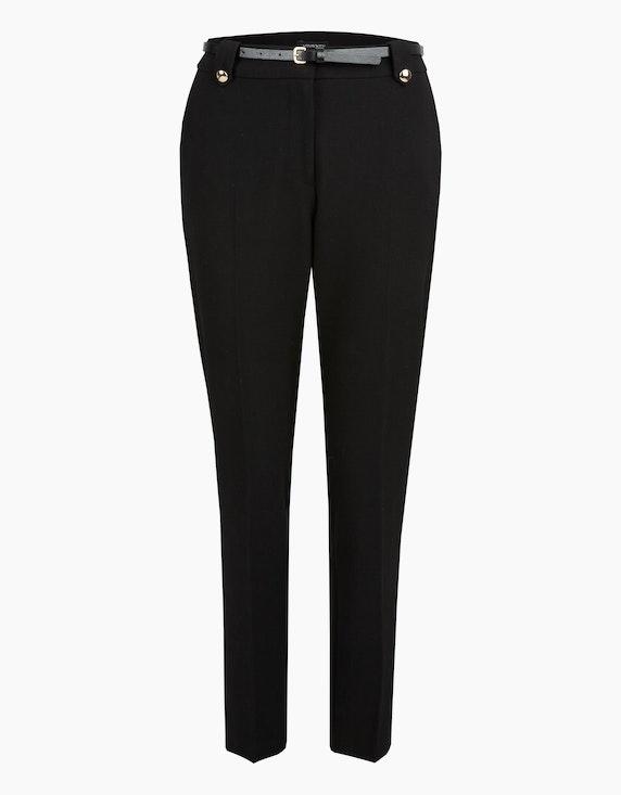 Viventy Hose mit Gürtel und goldfarbenen Knöpfen in Schwarz | ADLER Mode Onlineshop